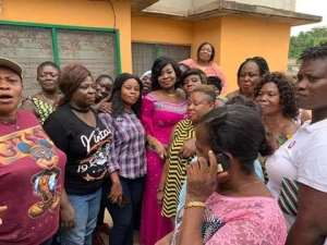 Hon Queenster Pokuah Sawyer with kidnapped girls families