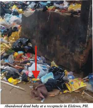 Abandoned dead baby at a receptacle in Elelewo, Port Harcourt