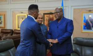 CAF President Dr Ahmad And Samuel Eto'o Get Presidential Reception At DRC