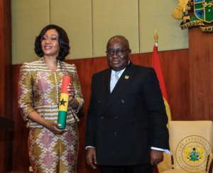 EC Boss, Jean Mensa with President Akufo Addo at her swearing in.