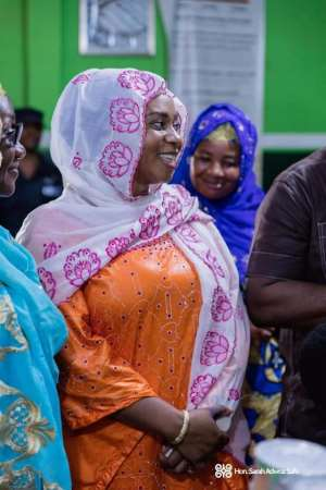 Sara Adwoa Safo, MP for Dome Kwabenya in the orange attire