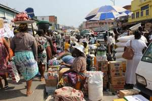 Common congestion market scenes in Ghana