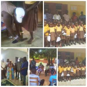 Bono NPP Women's Organiser Donate Mosquito Coil, Sandals To Deprived Pupils