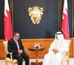 World Health Organization Director General Dr. Tedros Adhanom Ghebreyesus with Bahrain Prime Minister His Royal Highness Prince Khalifa bin Salman Al Khalifa at a past event.