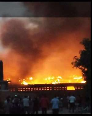 Police, Fire Service Stoned Over 'Late Response' To Asamankese Market Fire