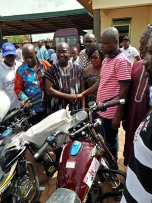 NPP Chairman Gives Motor-bikes, Cash To Constituencies