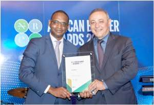Afreximbank Executive Vice President Amr Kamel (right) with Jules Ngankam, Group Deputy CEO & CFO, African Guarantee Fund, after receiving the Award plaque.