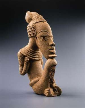 Figure of a seated male; one of the three looted Nigerian Nok terracotta bought by the French, even though they knew they were looted, now in the possession of the Musée du Quai Branly-Jacques Chirac, Paris, with post factum consent of the Nigerian government.