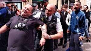 A street preacher arrested in Bristol, Britain.