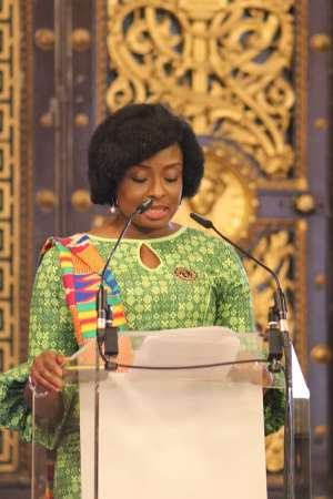 Mrs Alomatu Osei Agyeman, acting High Commissioner delivering her welcome remarks.