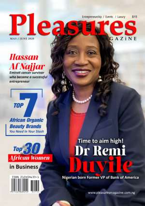 Former Vice President Of Bank Of America, Remi Duyile Covers PLEASURES MAGAZINE May/June 2020