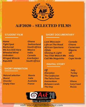 Accra IndieFilmfest(AiF)Selects 55FilmsToRepresent At The2020 Edition Of The Festival