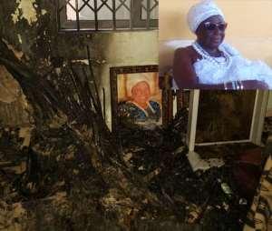 Debris from the arson. INSET: Nana Afua Nketia Obuo