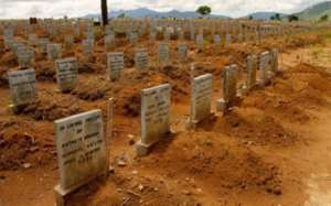 A sea of Ebola victims buried at Waterloo Cemetery in Freetown, Sierra Leone