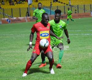 William Opoku Mensah in action against Bechem United