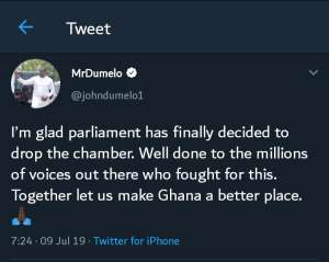 I'm Glad Parliament Has Decided To Drop The $200m Chamber —Dumelo