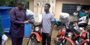 West Gonja District Agricultural Extension Officers Receive Motorbikes