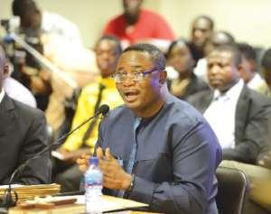 Elvis Afriyie Ankrah before the 2014 Justice Dzemefe Commission
