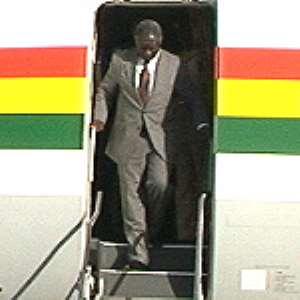 Kufuor arrives home from AU/G-8 Summit