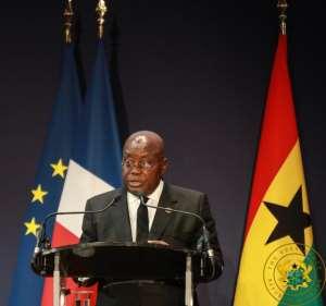 President Akufo-Addo speaking at the France Ghana Forum.