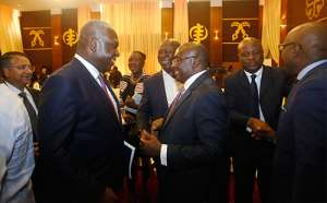 Vice-President Dr Bawumia interacting with Dr. Eugene Owusu (left),