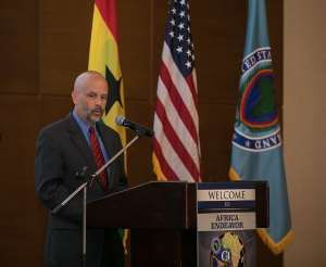 Charge D'Affaires Christopher Lamora delivering his remarks at the opening ceremony
