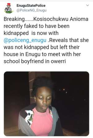 Faked Kidnap Of Politician's Daughter In Enugu Proves Our Claim On Conspiracy