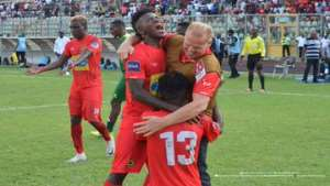 Kjetil Zachariassen celebrating with his players after beating Kano Pillars 2-0