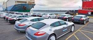 Some cars at the port