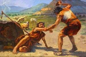 An illustration of Cain killing Abel