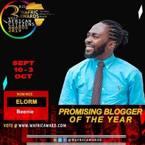 """Elorm Beenie is nominated for West African Citizens Awards 2019 as """"Most Promising Blogger"""""""