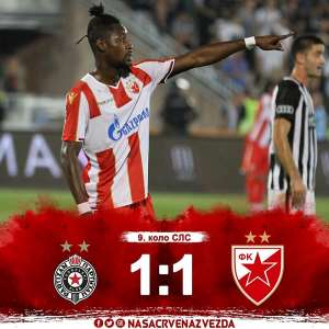 Richmond Boakye Scores For Red Star Belgrade In Draw At Partizan In 'The Eternal Derby'