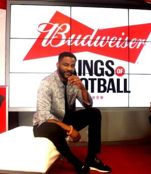 Ebuka Obi-Uchendu on the set of Kings of Football
