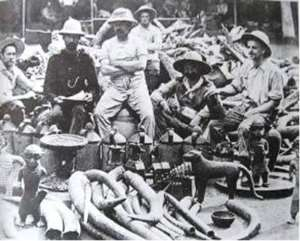 British soldiers of the infamous Punitive Expedition of 1897 proudly posing with the looted Benin artefacts.