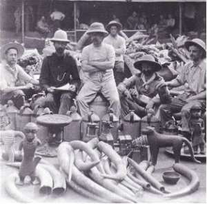 Members of the British Punitive Expedition which invaded Benin in 1897 posing proudly with the Benin artefacts they looted.