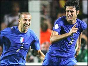 Del Piero (left) and Grosso scored to put Italy into the final