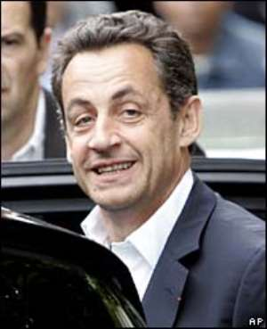 Mr Sarkozy appeared relaxed as he left a Paris hotel on Monday