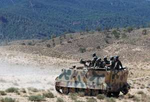 Tunisian soldiers patrol on June 11, 2013 in the Mount Chaambi region where the Tunisian army has been tracking militants.  By Abderrazek Khlifi (AFP/File)