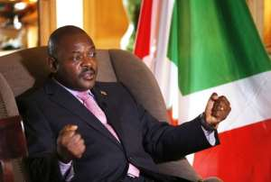 Burundian President Pierre Nkurunziza talks during an interview at the Westin hotel in Paris on June 4, 2014.  By Francois Guillot (AFP/File)