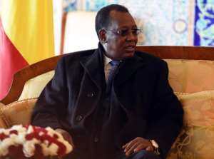 The President of Chad Idriss Deby sits upon his arrival at Houari Boumediene Airport outside Algiers on December 27, 2014.  By Farouk Batiche (AFP/File)