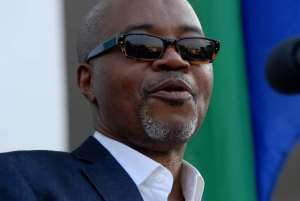 Gabon's late main opposition leader Andre Mba Obame on August 25, 2011 during a political meeting in Libreville.  By Xavier Bourgois (AFP/File)