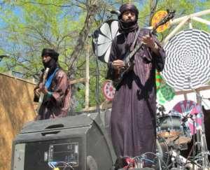 Liya Ag Ablil (R) and Sanou Ag Ahmed of the Malian desert blues group Terakaft perform in Austin, Texas  March 15, 2012.  By Robert Macpherson (AFP)