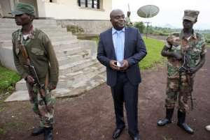 Bertrand Bisimwa speaks to journalists on April 26, 2013 in front of M23's headquarters in Bunagana on the border of DR Congo and Uganda.  By Junior D.Kannah (AFP/File)