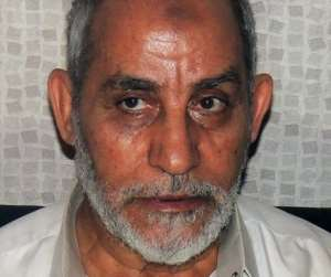 Muslim Brotherhood head Mohamed Badie pictured shortly after his arrest in Cairo on August 20, 2013.  By  (Egyptian Ministry of Interior/AFP/File)