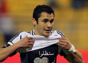 Egypt midfielder Ahmed Hassan, pictured on February 27, became the most capped footballer in the world Wednesday.  By Karim Jaafar (AFP/File)