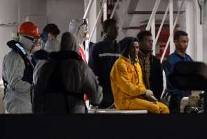 Rescued migrants arrive in Catania, Italy, on April 20, 2015.  By Alberto Pizzoli (AFP/File)
