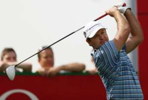 South Africa's Richard Sterne tees off during the first round of the Dubai Desert Classic in Dubai on January 31, 2013.  By Marwan Naamani (AFP)