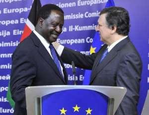 Kenyan premier Raila Amolo Odinga (left) with EU President Jose Manuel Barroso in Brussels last week.  By Georges Gobet (AFP/File)