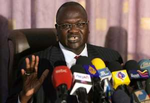 File picture taken on May 30, 2011 shows South Sudan's vice president Riek Machar during a press conference in Khartoum.  By Ashraf Shazly (AFP/File)
