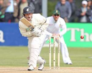 N.Zealand's Rob Nicol has looked uneasy facing anything short and outside the off stump.  By Marty Melville (AFP)